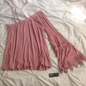 NWT Lapis One Shoulder Bell Sleeve Blouse
